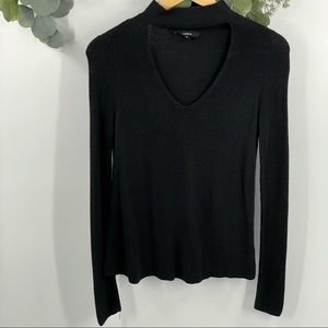 Olivaceous | Black Choker Sweater, Small